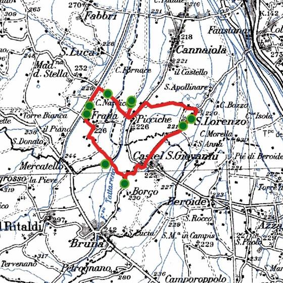 Cartina delle piantate tra Picciche e San Lorenzo (Trevi), Castel San Giovanni (Castel Ritaldi), Fratta (Montefalco)