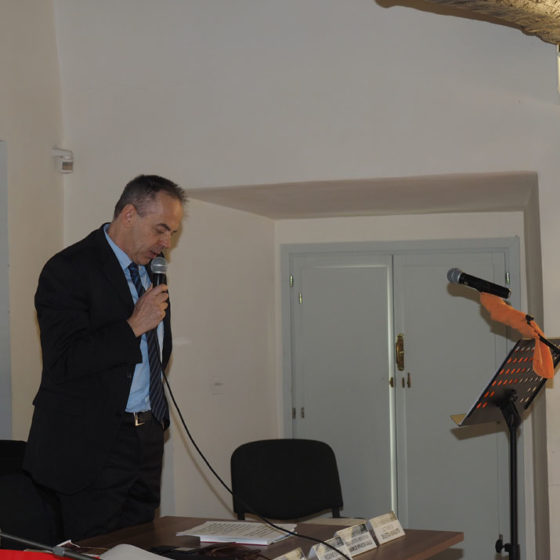 Presentazione di 'Patriarchi verdi. Itinerari in Valle Umbra' – palazzo Mauri, Spoleto, 12 marzo 2016. Il Segretario generale della Comunità montana, Sergio Rossi