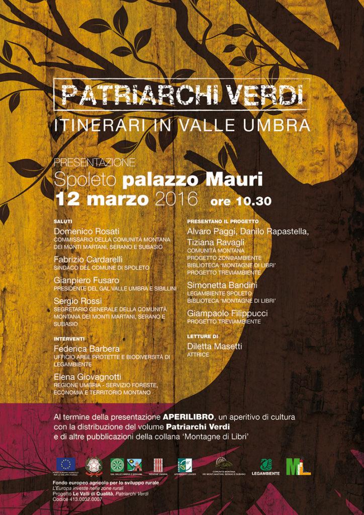 Patriarchi Verdi, locandina per la presentazione del 12 marzo 2016, Spoleto, biblioteca comunale, palazzo Mauri